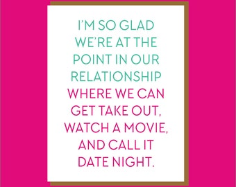 Netflix and Chill. Date Night Card. Love Card. Funny Anniversary Card. Card for Him. Movie Night. Card for Her