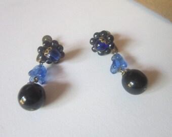 Antique Art Deco Blue Art Glass Made in Germany Screw Back Dangle Earrings
