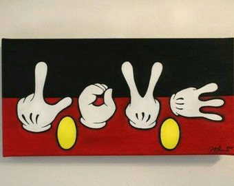 Mickey Mouse Acrylic Love Hands Art