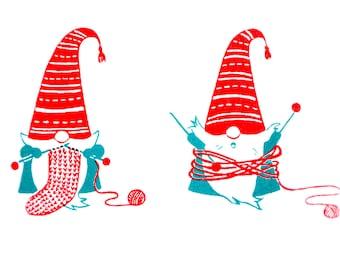 Two Knitting Gnomes