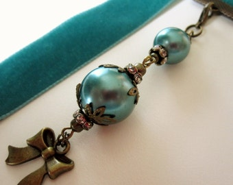 Turquoise Velvet Ribbon Bookmark w/ Ornate Faux Pearls