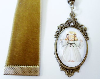 Antique Gold Velvet Ribbon Bookmark w/ Angel Cabochon