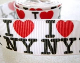 7/8'' -  22 mm I love New York Grosgrain Ribbon