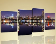Large Landscape Urban City Night Scene Contemporary Wall Art Print On Canvas, Large Cityscape Wall Art, Living Room, Cocoa Bean