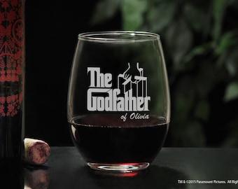 Elegant Stemless Wine Glass Custom Godfather Gift, Personalized Godfather Glass & Etched Movie Logo, Will You Be My Godfather Baptism Gift