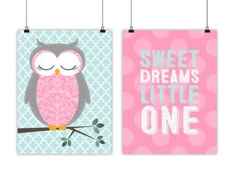 Baby Girls Owl Nursery Art, Sweet Dreams, polkadots, Little Girls room decor, pink mint nursery decor - woodland nursery - woodland theme
