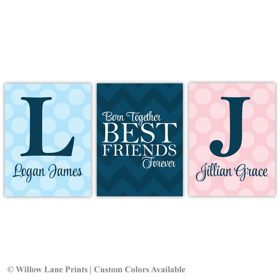 Twin Baby Girl Quotes: Twin Boy And Girl Nursery Wall Art Twin Quotes Born Together