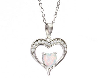 925 Sterling Silver White Opal Heart Necklace,Silver Heart Necklace,Silver Opal Jewelry
