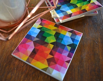 Ceramic Tile Coasters - Geometric Style 051