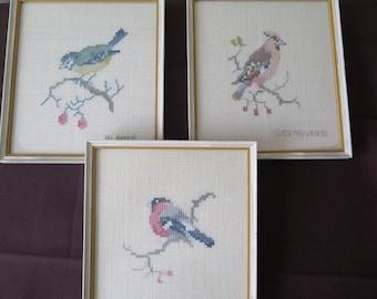 Vintage Embroidered Bird Pictures Set of 3, Scandinavian Fiber Art Framed Embroidery Cottage Chic, Vintage Tapestry Hanging Decor @136