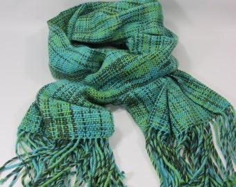 Woven Shawl, Blue Green Woven Shawl, Wool & Acrylic Woven Shawl, Hand Woven Shawl, Woven Wrap