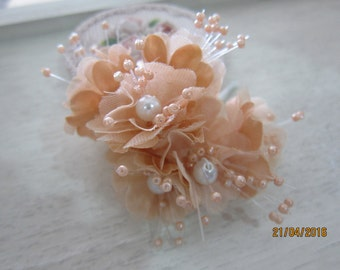 6 Small Beaded Organza Flowers-Organza Beaded Flower 004/Bridal head pieces