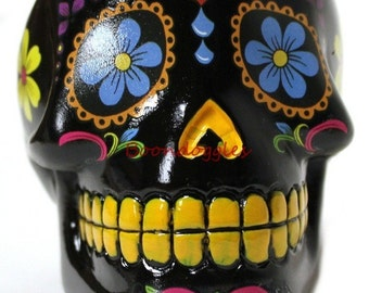 Day of the Dead Dia De Los Muertos Black Sugar Skull Ashtray