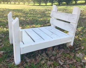 Rustic Reclaimed Wood Bed- Photography Prop- Distressed Heirloom White