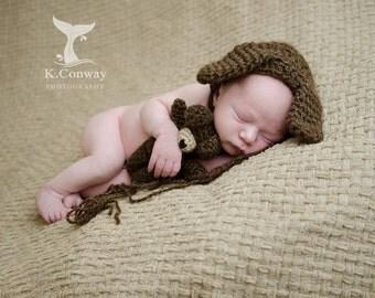Handmade Stuffed Tiny Puppy Dog and Bonnet Set / Custom Newborn Photo Prop / Perfect Shower Gift / Baby Girl Boy / Crochet Hat / Mini Dog