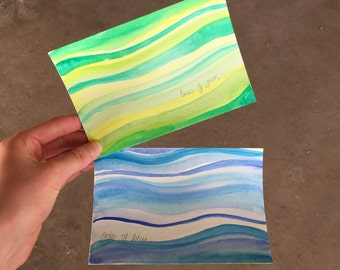 Hand-Painted Postcards, Pack of 2, Skies of Blue and Trees of Green