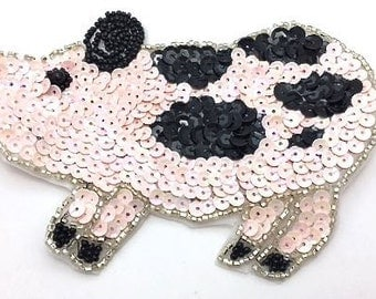 "Sale! Choice of Color Pig Applique, Sequin Beaded, 6"" x 3.5""  Pink or  Beige  -B273-0276"