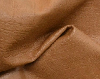 "Latte Brown Leather Lamb Hide 12"" x 12"" Pre-cut 1-2 ounces reptile print embossed EL-43352 (Sec. 5,Shelf 4,D)-leatherguy"