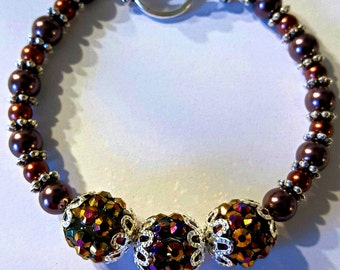 Textured Purple and Amber Bracelet