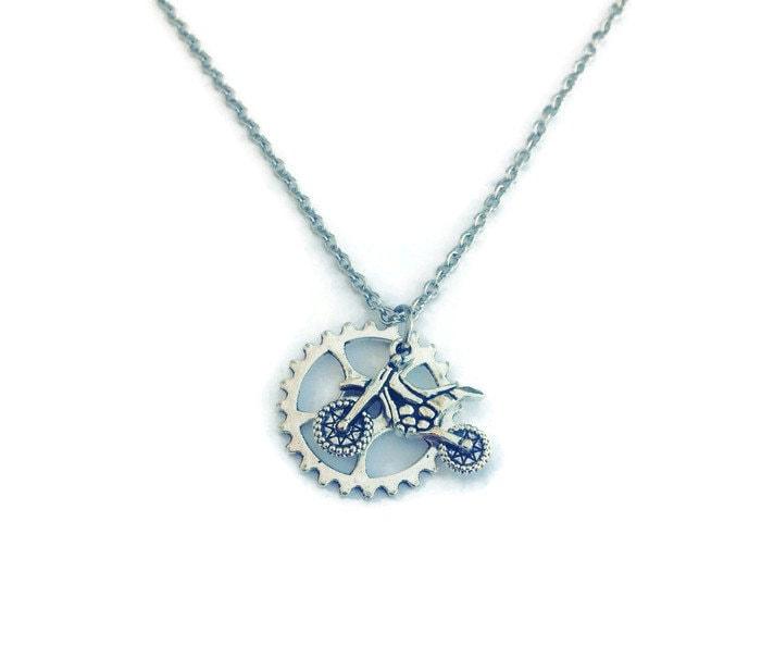 dirt bike sprocket necklace motocross jewelry motocross