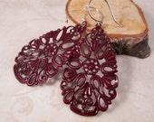 Burgundy Teardrop Earrings (Small), Burgundy Earrings, Painted Filagree Earrings, Marsala Long Earrings, Maroon Earrings, Filagree Earrings