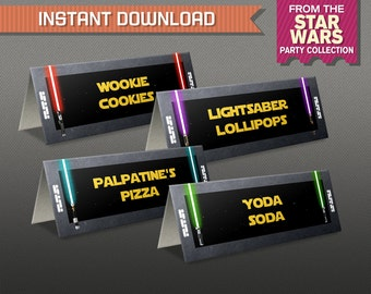Star Wars Party Food Label or Star Wars Place Cards - Star Wars Birthday - Lightsaber - Edit and print at home with Adobe Reader