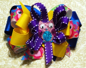 Blue, Yellow, Purple, and Owl Hair Bow with Owl Center