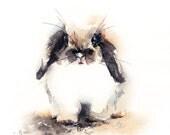 Original Watercolor Painting of Cute Bunny, Rabbit Watercolour Art Painting
