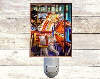 Newborn Night Light - Carousel 12 - New Orleans art -  Handmade - Copper Foiled - Childrens room - Nursery Art - Lighting -