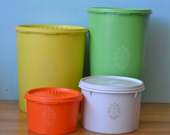 Vintage canisters Tupperware retro 1970's 4 pieces orange green yellow beige