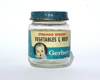 Gerber, Baby Food Rustic Glass Jar, Old Miniature Jar, Food Storage Jar With Lid, Advertisment Jar