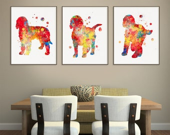 Goldendoodle Watercolor Art Print, Goldendoodle Painting, Set of 3 Prints, Goldendoodle Wall Art, Goldendoodle Wall Decor, Dog Poster