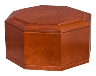 Cherry Octagon Wood Cremation Urn