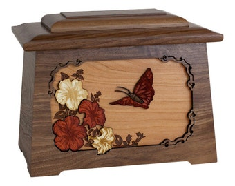 Walnut Butterfly Astoria Wood Cremation Urn
