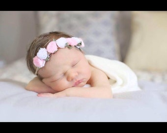 Newborn/infant/toddler no indent pink & white flowercrown headband