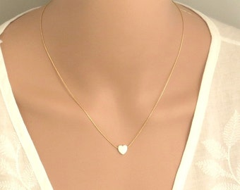 14k gold filled / sterling silver 925 chain White opal heart necklace, tiny heart necklace, gold heart necklace , silver heart necklace