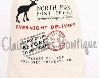 North Pole | Santa Sac | Canvas Sac - WITH VINYL NAME