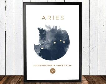 Aries Gold Foil Constellation Hororscope Print