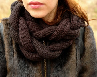 Womens knitted infinity scarf, black braided infinity scarf, CollectionWN