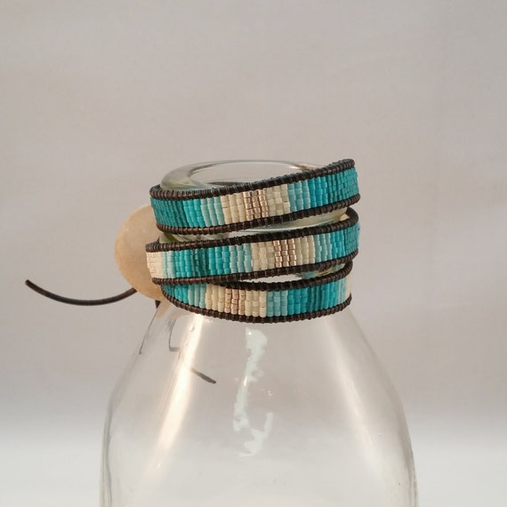 Triple Wrap Bracelet with Seed Beads & Hand Made Ceramic Tree Button Clasp