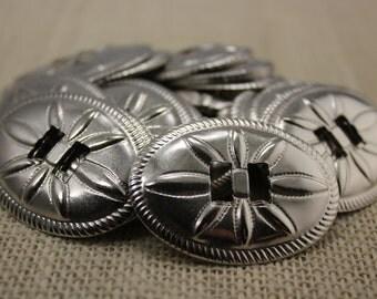 Vintage Silver Oval Conchos (6 pieces)