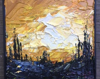 Ochre Sunset - Mini Impasto Landscape