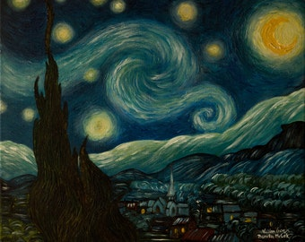 The Starry Night Reproduction (Vincent Van Gogh 1889)