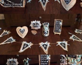 Baby Shower Christening Table Decorations Bundle - Handmade Vintage Inspired 7 pc Set. Burlap and Chalkboard - Great Value - Totally Unique!