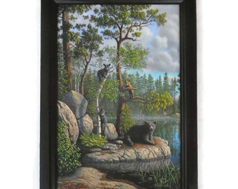 Bear Picture, The Guardian, Wildlife, Black Bear, Art Print, Cabin Decor, Wall Hanging, Handmade, 21X15, Custom Wood Frame, Made in the USA