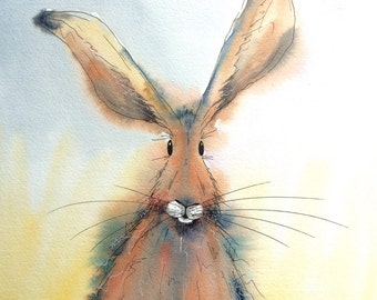 Red hare - Original watercolour painting