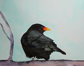 watercolor bird painting bird art original watercolor Blackbird by Betty Moore