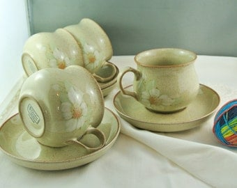 Denby Daybreak Pattern, 4 Cups, 4 Saucers, England