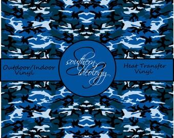 Camo Vinyl Sheets // Beautiful Patterned Craft Vinyl and Heat Transfer Vinyl in Blue Camo Pattern