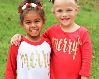 girls red merry gold glitter 3/4 sleeve raglan tee christmas shirt by oh sweet sprouts